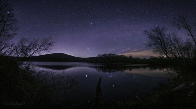 Winter stars set over Pond Mountain Nature Preserve in Kent CT.