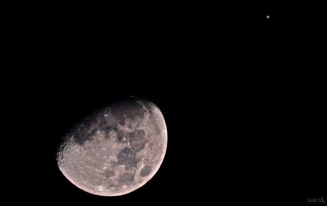 The Moon and Jupiter in conjunction.