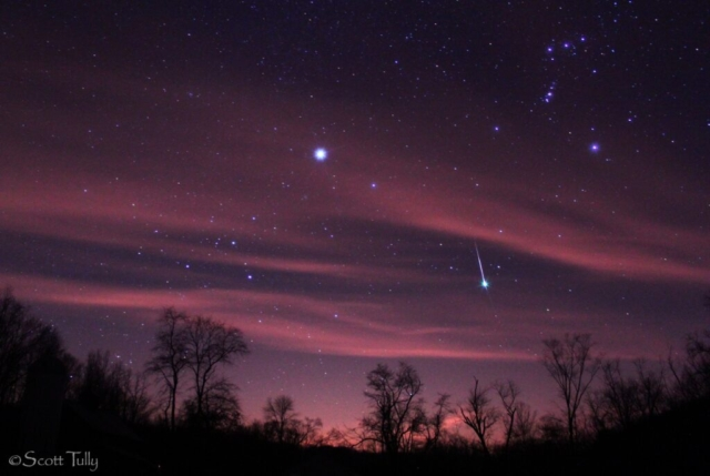A Geminid Meteor sparkles with a green flash. Image from Marble Valley farm.