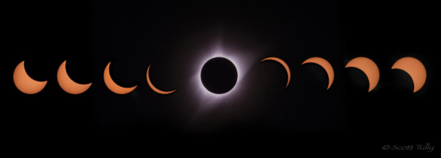 The 2017 total solar eclipse progression shows the different phases during the eclipse. Photographed from Grand Teton Village in Wyoming.