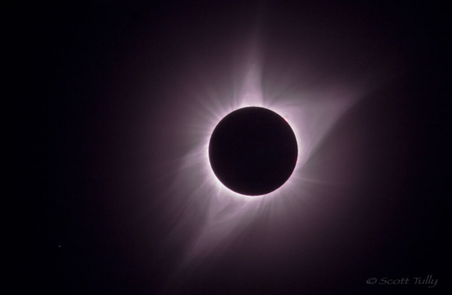 Totality during the total solar eclipse of 2017. The image shows the suns corona in full detail.