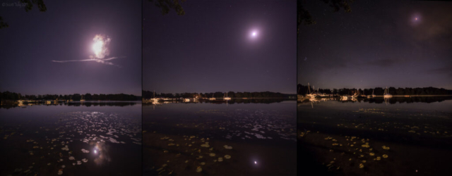 This image shows three different moments during the lunar eclipse to show the progression of the event. Captured at Bantam Lake in Bantam CT.