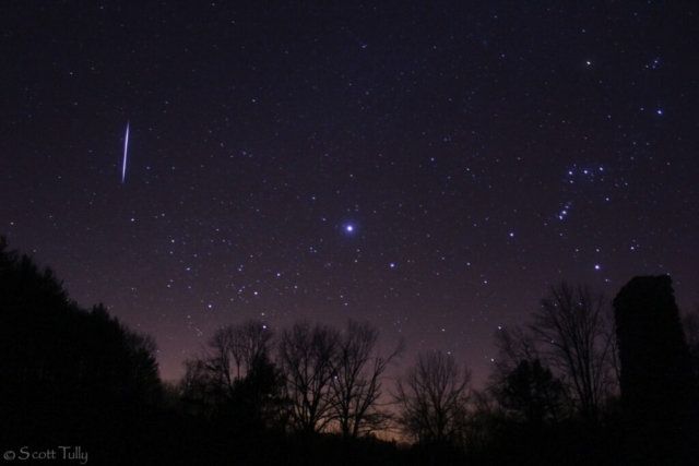 A Leonid meteor captured amongst Sirius and Orion. Taken on November 17, 2012