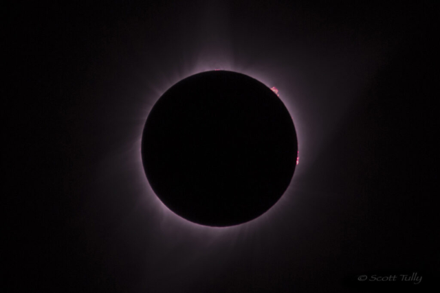 Solar Eclipse 2017 with solar prominences captured during totality.