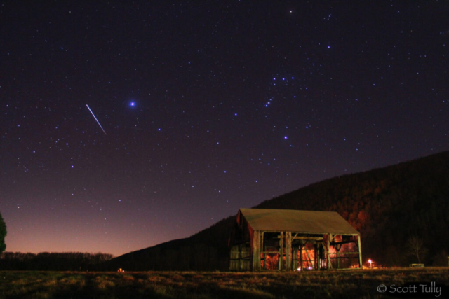 The International Space station comes into view over the old tobacco barn in Kent CT.