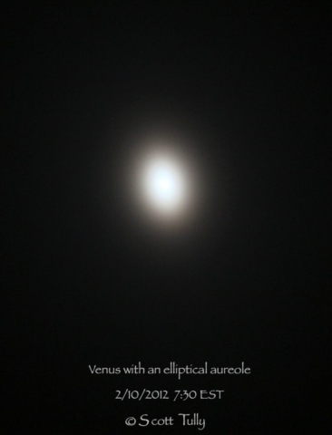 An elliptical Aureole captured around Venus in 2012.
