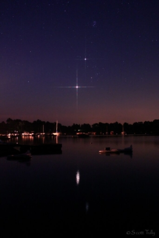 Jupiter and Venus captured before dawn at Bantam Lake in Bantam, CT.